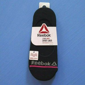 Reebok 3 Pk Sport Liner Socks Wicking Heel Grip